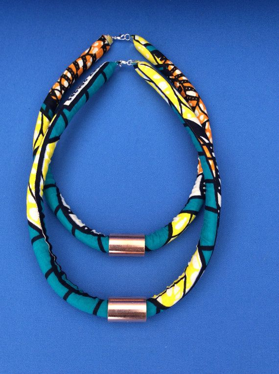 ONE Ankara Rope Necklace Tribal Necklace van SaloneStarr op Etsy