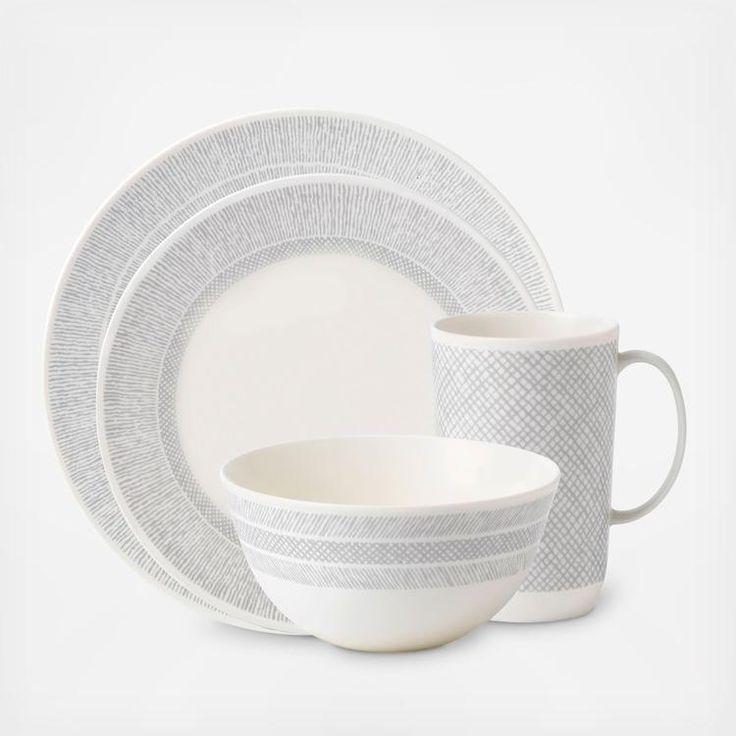 Vera Wang Simplicity casual dinnerware features a neutral and organic cream and gray landscape that is perfect for everyday dining. Simple and refined, this set is versatile and can be dressed up or down as your dinner event requires!  Includes: Dinner plate Salad plate Bowl Mug