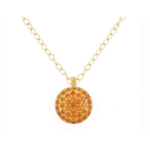 "Pre-owned Large Orange Sapphire Pave Sizzle Pendant 18"" ($2,545) ❤ liked on Polyvore featuring jewelry, pendants, orange sapphire jewelry, preowned jewelry, pendant jewelry, pave pendant and sapphire pendant"