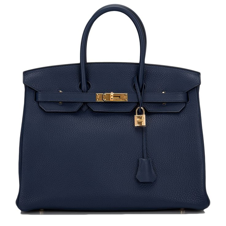 Hermes Birkin Blue Sapphire Clemence 35cm Gold Hardware Bag #hermes