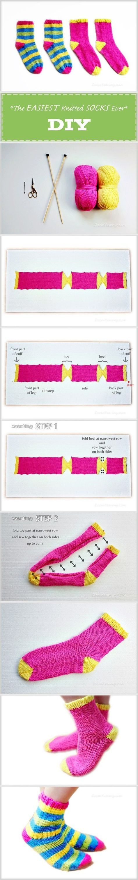 meias fáceis de duas agulhas em fios de lã penteada - podem ser facilmente adaptadas ao ...