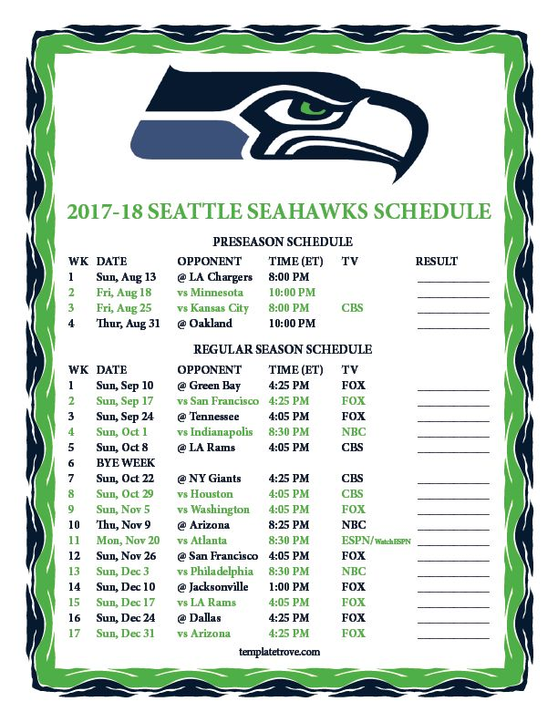 Image result for seahawks schedule 2018