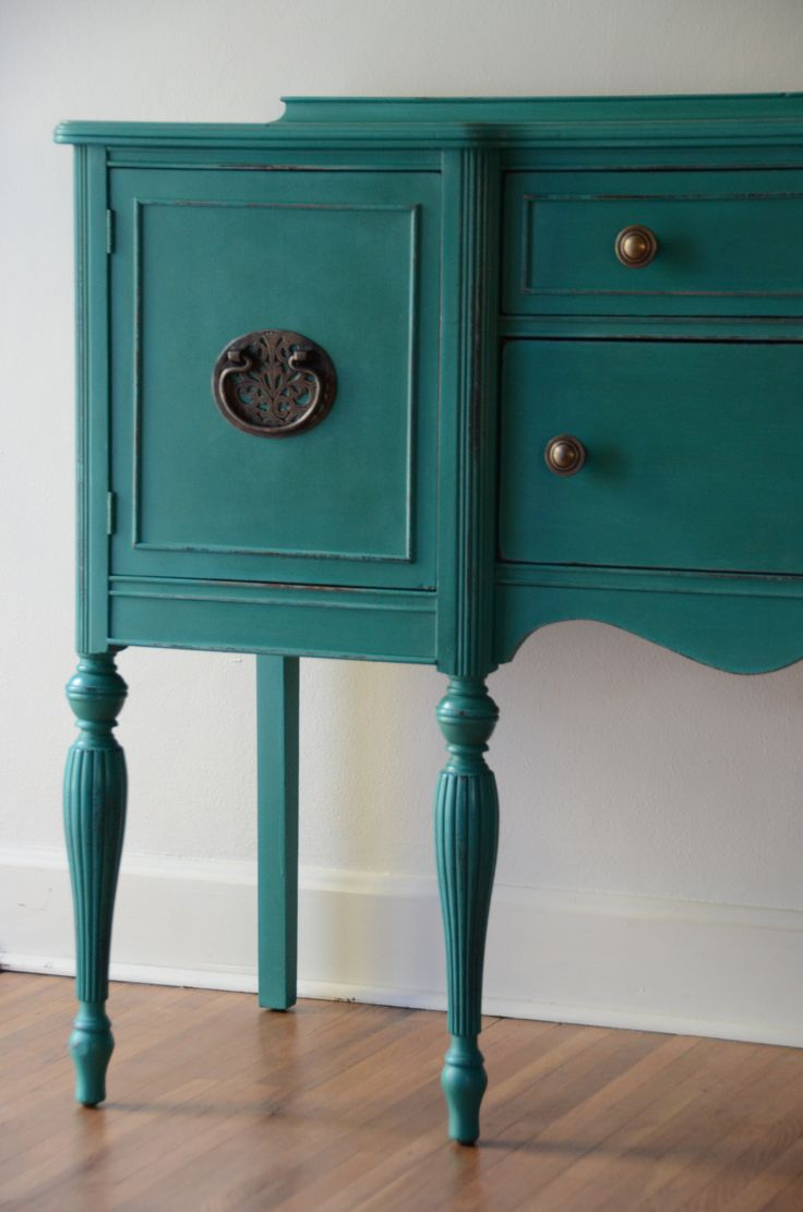 Hand Painted Sideboard/Buffet or entryway furniture by Estuary.  #painted furniture  #teal  #turquoise  #brasspulls