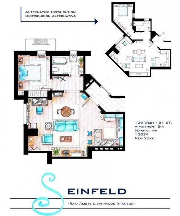 From Seinfield's  NYC apartment floor plan by artist Iñaki Aliste Lizarralde