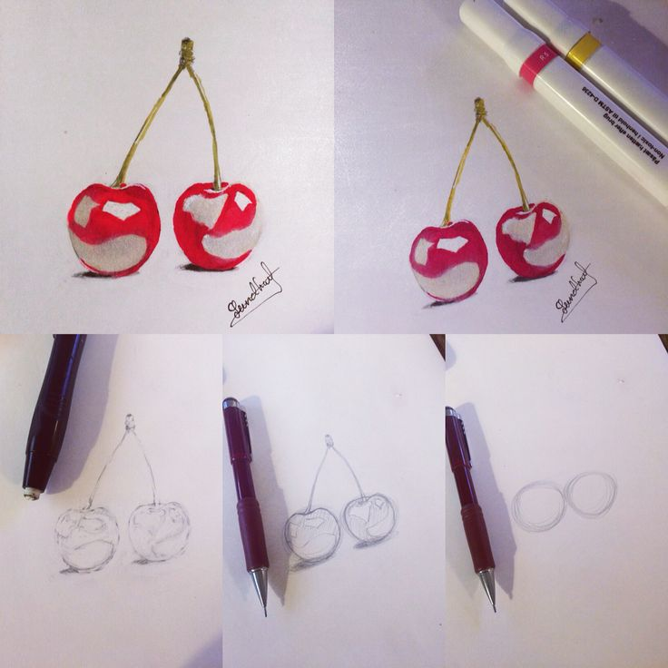 Step by step cherry with pencil and twin markers ;) enjoy