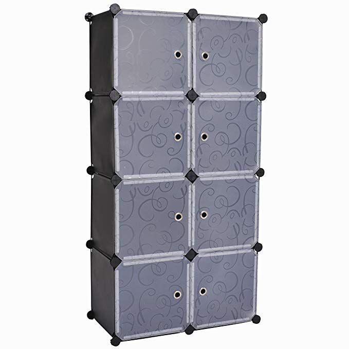 C Ahome 8 Cube Storage Organizer Toy Rack Cabinet Wardrobe Diy Black Closet With White Doors Review Plastic Storage Cabinets Cube Storage Diy Wardrobe