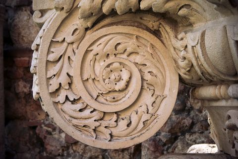 Scroll detail of an ancient Composite capital.