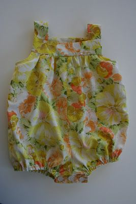 sew baby romper from vintage sheets.