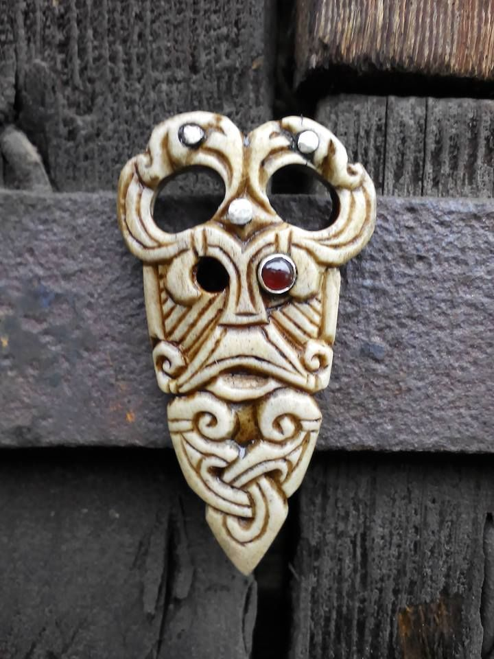 Odin penant, with stylised Hugin and Munin ravens. Made from antler, silver,