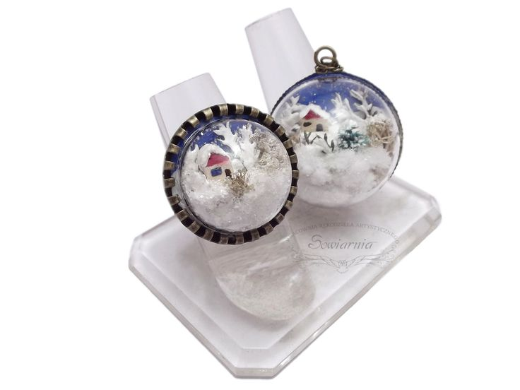 Winter under the glass dome - necklace and ring