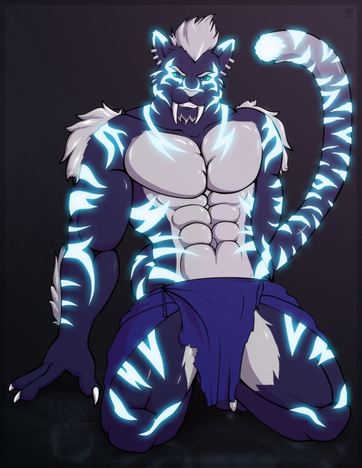 e621 anthro clothing fangs feline kneeling loincloth looking_at_viewer male mammal muscular smile solo teeth tridark