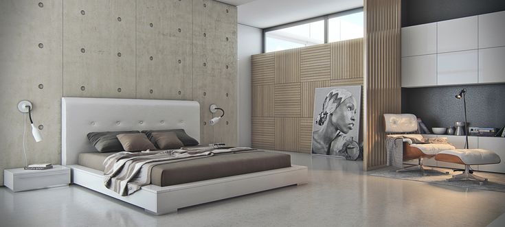 Futuristic master bedroom furniture ideas with king size white wooden platform bed with upholstered headboard and brown bedding plus low side table and flexible arm wall reading lights and also light
