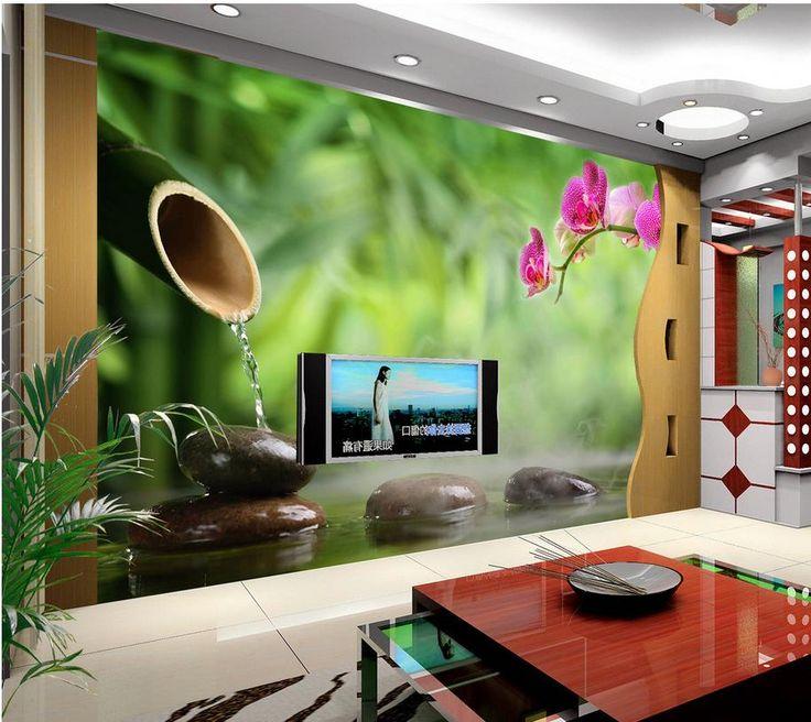 3d Wallpaper For Room Green Bamboo Butterfly Orchid Background Wall Flower  Wallpaper Bathroom 3d Wallpaper Part 77