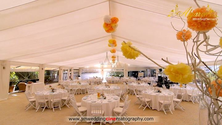 White yellow orange decoration vintage look by Algarve Wedding Planners | My Portugal Wedding