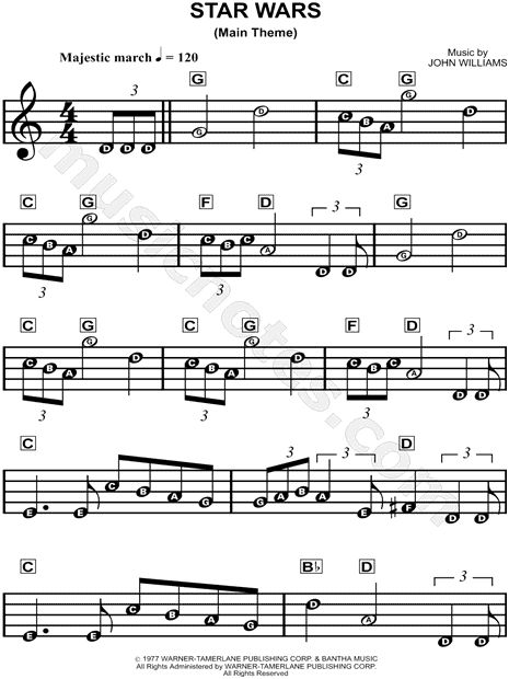 Print and download Star Wars (Main Theme) sheet music from Star Wars arranged for Piano or Treble Clef Instrument. Piano/Chords, and Instrumental Solo in C Major.