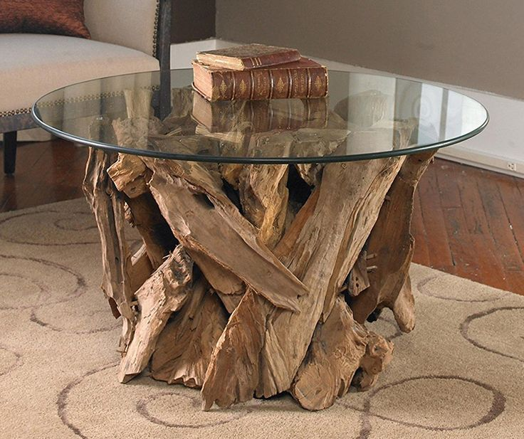 Teak Driftwood Round Glass Coffee Table - So That's Cool