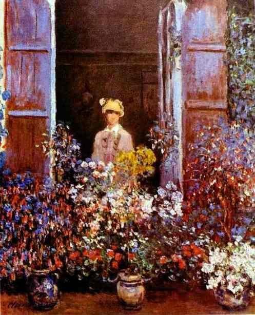 Monet, Claude - Camille Monet at the Window - Impressionism - Portrait - Oil on canvas