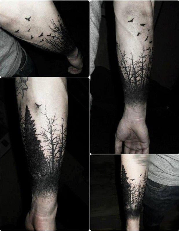 tatouages-magnifique-foret-arbre-noir-jambe-bras