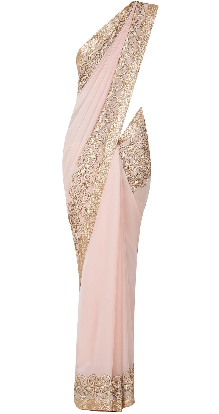 Light pink embroidered sari available only at Pernia's Pop-Up Shop. | FollowPics