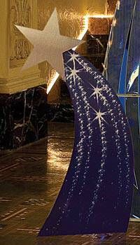 The cardboard standees have detailed mural stars that create a celestial arch if you put them together.
