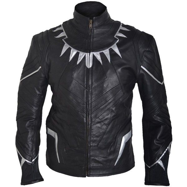 Classyak Men's Captain Black Panther America Civil War Fashion Leather... (4240 TWD) ❤ liked on Polyvore featuring men's fashion, men's clothing, men's outerwear and men's jackets
