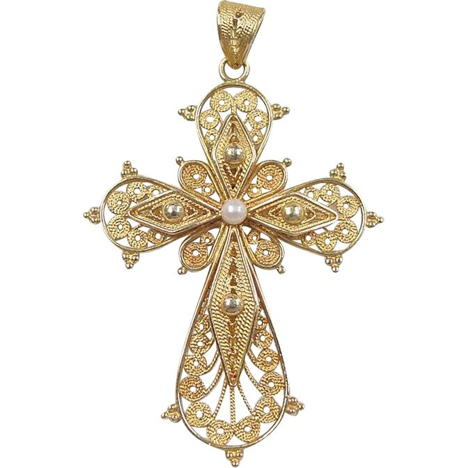 Vintage 18k Gold Filigree Cross Pendant With Cultured