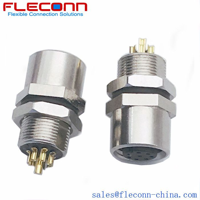 M8 Female Panel Mount Connector Electrical Wire Connectors Shielded Cable Cable Splitter