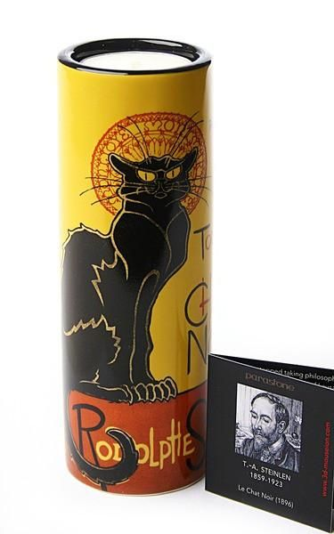 Steinlen Le Chat Noir Black Cat Tealight Candleholder 5.75H