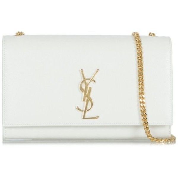 Saint Laurent White YSL Classic Monogram Shoulder Bag (93.925 RUB) ❤ liked  on Polyvore featuring bags 12c2a0cbca1fa