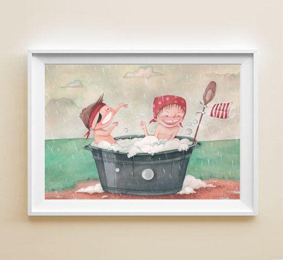 Stampa - Poster illustrazione con bambini che giocano felici in una tinozza sotto la pioggia, disegno per bambini