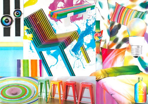 Kaleidoscope 2014; bright, neon, fluorescent, acid, combine with white, light neutral, or pastel. Man-made materials. Shiny, glossy 50s/60s