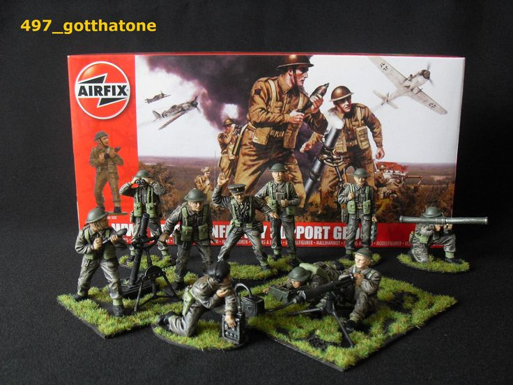 Airfix 1/32 British infantry support group WW2. professionally painted. FULL SET | eBay