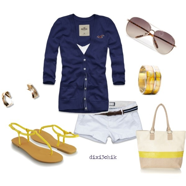 Relaxed beach session: Summer Outfit, Style, Dixi3Chik, Fashion Outfits Spring Summer, Polyvore, Navy, Yellow Summer, My Style
