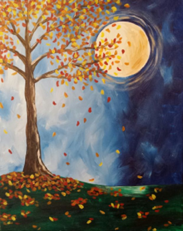 Harvest Moon, This painting will help painters celebrate the  change of seasons by getting creative with  their branches and colorful leaves!