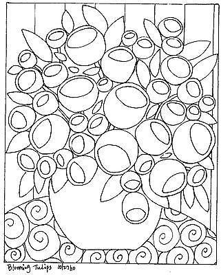 Patrón de papel de enganche Alfombra Blooming Tulipanes abstracto arte popular Karla G