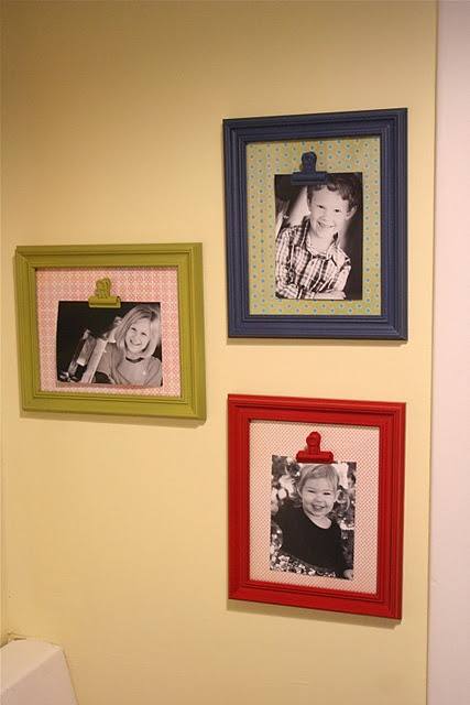 picture frame with bulldog clips cute idea for children 39 s. Black Bedroom Furniture Sets. Home Design Ideas