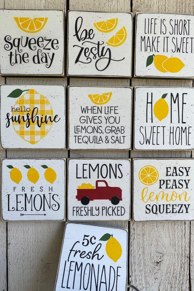 When life gives you lemons 7 x 7 Framed Mini Wood Sign
