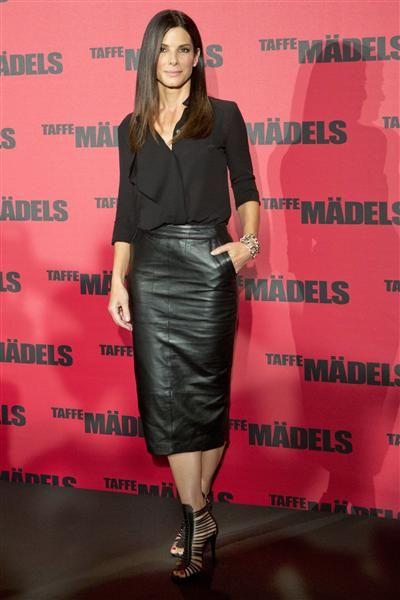 Sandra Bullock's style - black leather skirt with black chiffon collar shirt