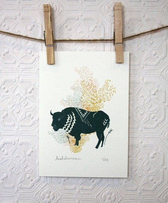Buffalo Print 5 x 7 by leahduncan on Etsy: Style, Room Ideas, Rooms Ideas, Linocut
