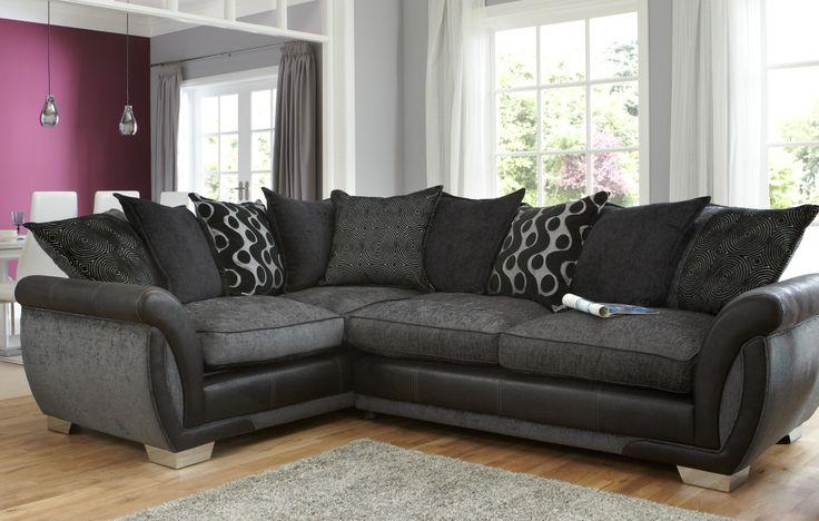 Elegant Contemporary Black Sectional Sofa With Grey Fabric Sofa Cushions And  Decorative Throw Pillows. Stylish Contemporary Living Room Set Idu2026 |  Pinteresu2026