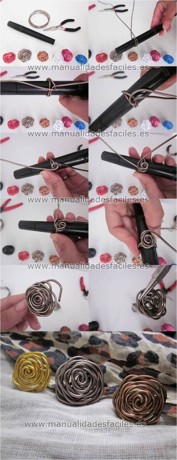 Rose swirl wire ring