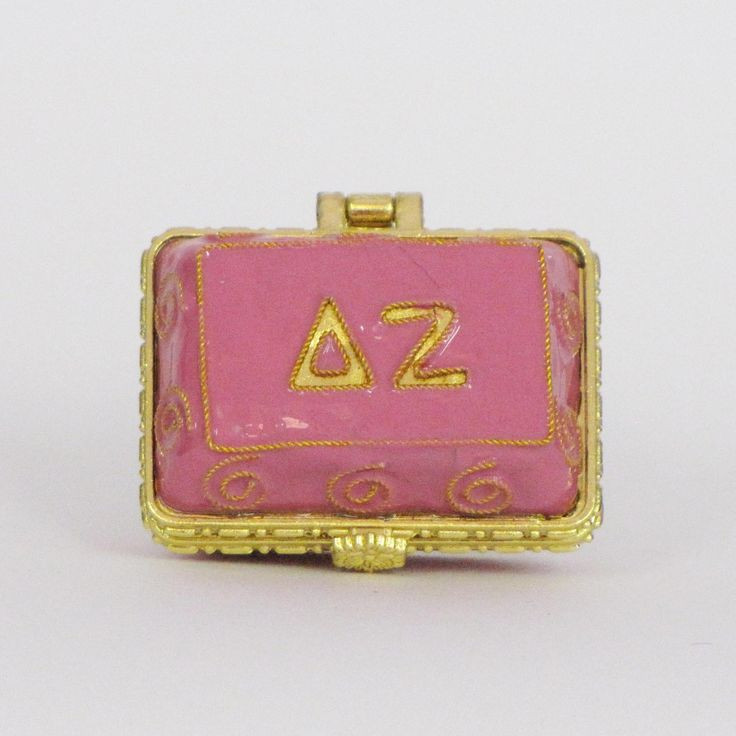 Officially licensed Delta Zeta, handcrafted, 24k gold plated cloisonne - www.KittyKeller.com