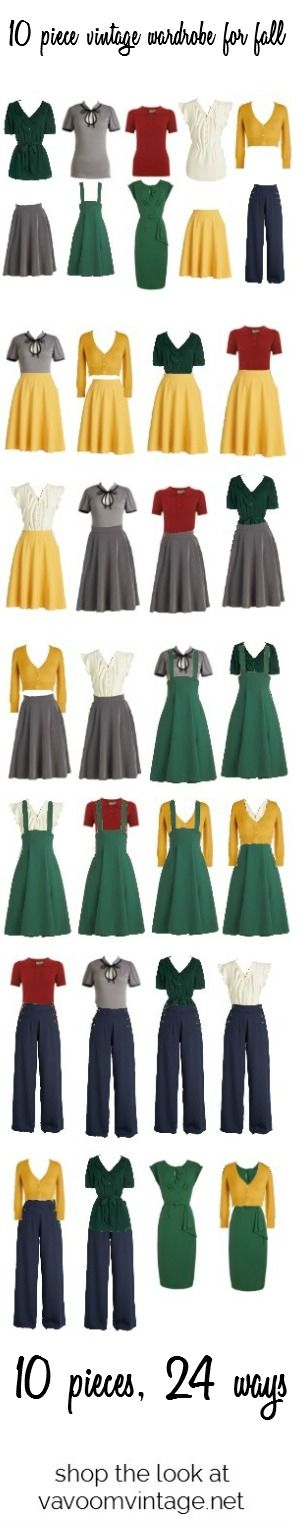 10 piece retro capsule wardrobe for fall- shop the look at vavoomvintage.net