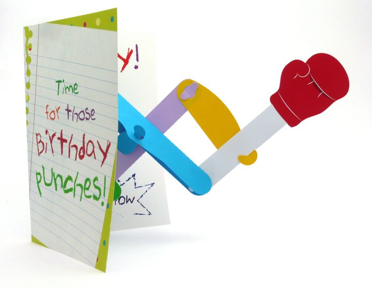 "Colourful kids birthday card which has a punching glove that reaches out and punches you in the face. It's pop-""out"" more than pop-up.  And yes, the punching arm really does fit in the outline of the card itself."