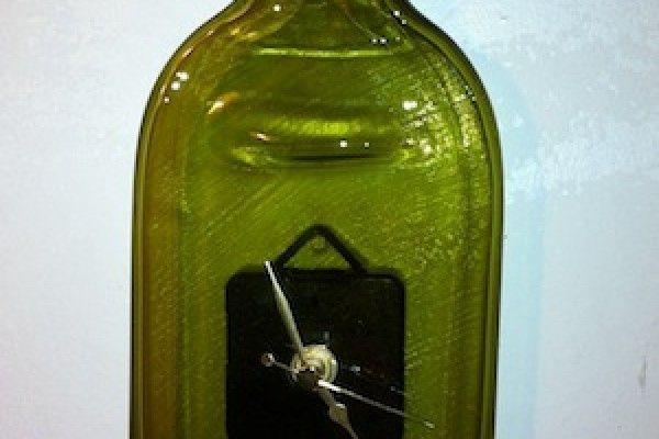 Take 2 bottles bottle clock once flattened in the kiln for Best way to drill glass bottle