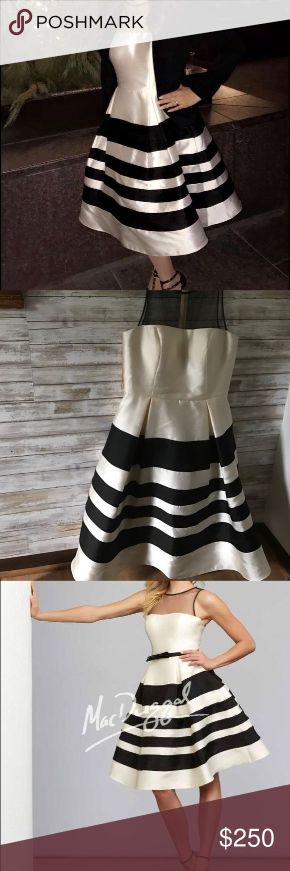 Black and cream tea length Mac Duggal size 8 Parisian style dress! Great for cocktail parties!  Only worn once! mac duggal Dresses