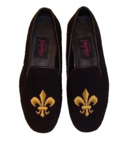 By Paige Fleur de Lis Needlepoint Loafers for Men