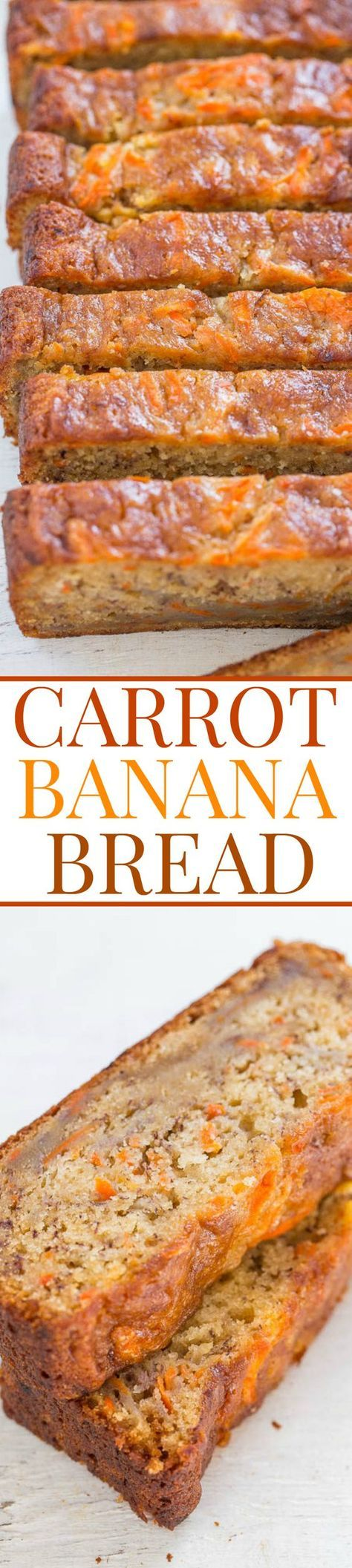 Carrot Banana Bread - EASY, no-mixer, super soft bread that reminds me of carrot cake but healthier!! Perfect for springtime, Easter (or ripe bananas)!!