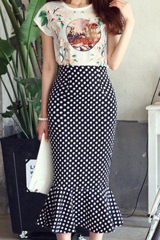 Elegant Women's Printed Blouse and Ruffled Polka Dot Skirt Suit