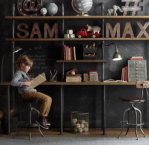 Industrial Pipe Shelving I Restoration Hardware baby & Child. I would ...